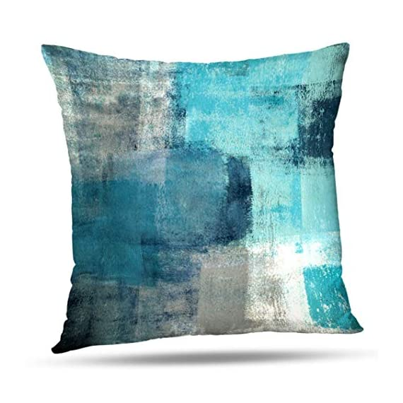 Alricc Set of 2 Turquoise and Grey Art Artwork Contemporary Decorative Gray Home Decorative Throw Pillows Covers Cushion Cover for Bedroom Sofa Living Room 18X18 Inches - Material: cotton and polyester blend, Teal pillow covers are Comfortable,Soft Touch, Light Weight Durable, Grade A, High Class. Size: Grey throw pillow covers 18X18 Inches(set of 2).1PC * Pillow case, insert are not included (NO Pillow) Design :Our turquoise pillow cover is made by high quality cotton and it is very healthy, breathable lightweight fabric, which is gentle to the touch. Suited for all seasons use, breathable for hot summer while warm for cold winter. - patio, outdoor-throw-pillows, outdoor-decor - 511PsX58dsL. SS570  -
