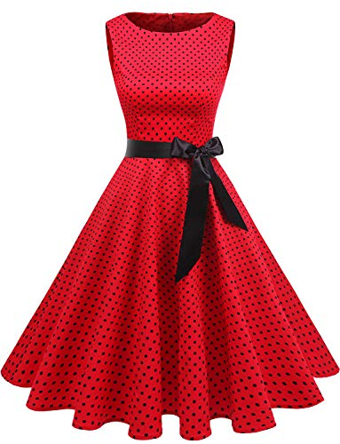 Gardenwed Women's Audrey Hepburn Rockabilly Vintage Dress 1950s Retro Cocktail Swing Party Dress Red Small Black Dot M