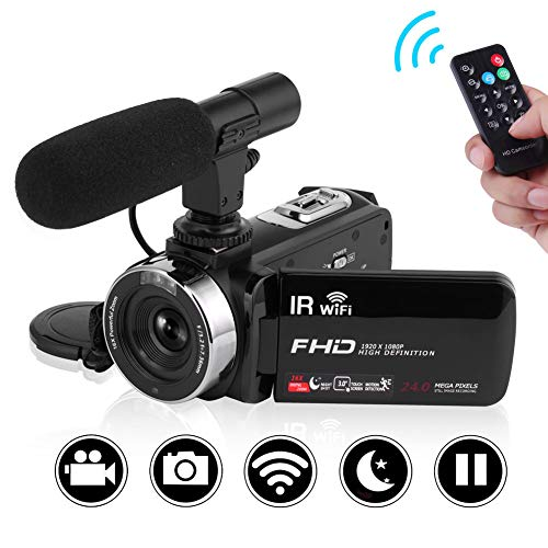 """SEREE Camcorder Full HD 1080P Vlogging Camera with Remote Control Wi-Fi IR Night Vision 3"""" LCD Touch Screen Digital Video Camera with External Microphone"""