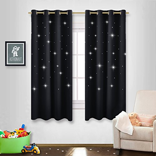 NICETOWN Cute Star Drapes for Girl's Room Nursery Essential Laser Cutting Star Black out Curtains for Cool Kids (Double Panels, 52 wide x 63 Inch Long)