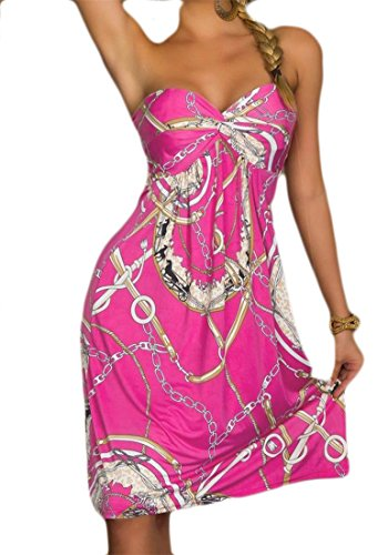 Cromoncent Rose Women's Beach Wrapped Printing Tube African Strapless Summer Dress vvxqwSgr6