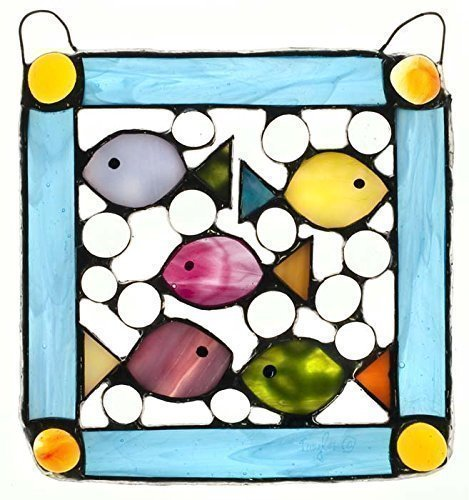 Decorative Fish Panel, Stained Glass Panel, Fun Fish Panel, Bejeweled Fishpanel, Large Suncatcher - Stained Glass Fish