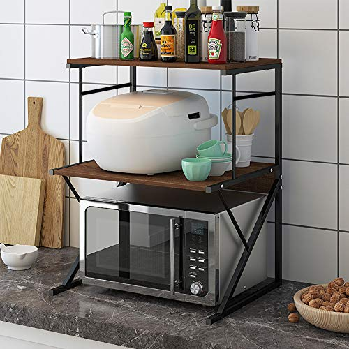 3-Tier Microwave Oven Shelf, Kitchen Counter Storage Shelf Baker's Rack Utility Shelf, Multifunctional Organizer for Kitchenware, Seasoning Rack (Black)