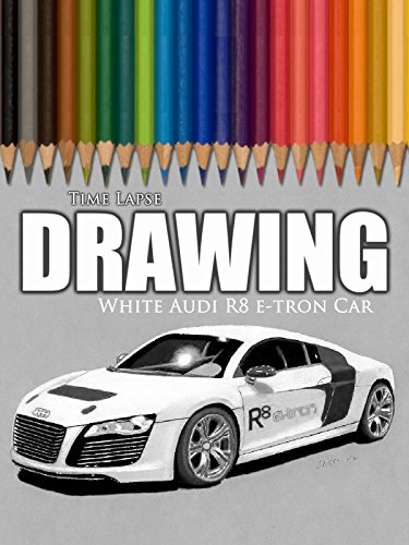 Clip: Time Lapse Drawing: White Audi R8 e-tron Car