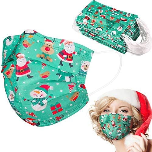 Disposable Face Masks with Santa Love Emoji 2021 Happy New Year Design,50 Pack