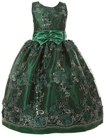 ed85dc2fc86 Little Girls Hunter Green Sequin Floral Embroidered Flower Girl Dress 2-6