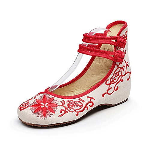 Women's embroidered shoes fall thin shoes dance national style shoes ( Color : Red , Size : US:6.5\UK:5.5\EUR:38 )