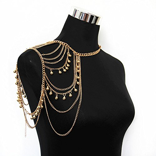 Bell Chain Necklace (JoJo&Lin Gold Tone Harness Multilayer Body Chain with Bells Necklace Love Rocks Shoulder Drape)