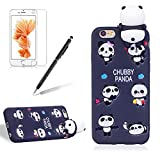 for Apple iPhone 6/6S Phone Case,Girlyard New Fashion Girly Lucky 3D Cute [Papa Animal Pattern] Soft Silicone Practical Shockproof Slim Protective Back Case Cover for iPhone 6/6S-Black Panda