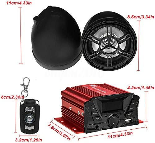 1 Pair 12V Universal Motorcycle Bluetooth Remote Control Stereo Audio Speaker with LCD full display Amplifier Music MP3 Sound System Waterproof Support TIF Card and USB Playback Anti-theft Alarm