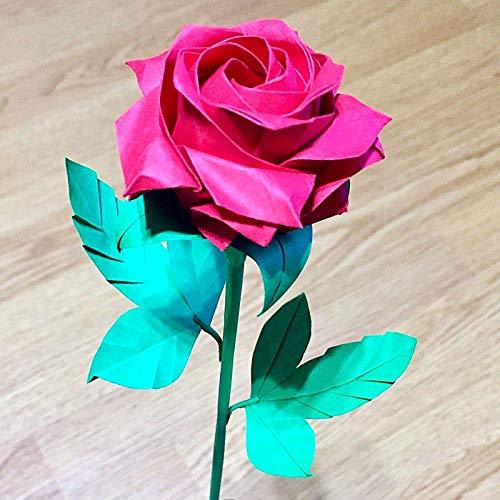 origami paper rose single stem flower gift