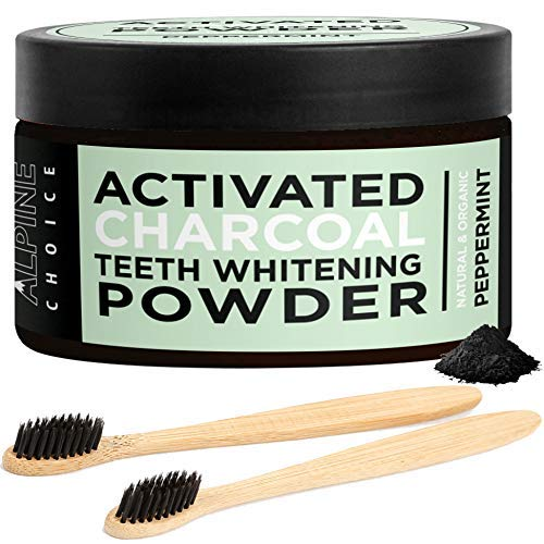Activated Charcoal Teeth Whitening Powder + 2 Bamboo Toothbrushes | Natural & Organic Food Grade Coconut, Peppermint | Alpine...