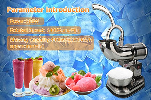Electric Dual Blades Ice Crusher Shaver Snow Cone Maker Machine Silver 440lbs/hr for Home and Commerical Use Ice Shaver Machine Electric Snow Cone Maker Stainless Steel Shaved Ice Machine by Wrea (Image #6)