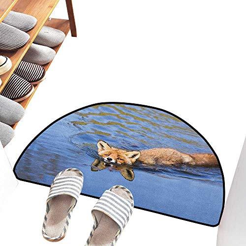 Interesting Doormat Fox Cute Fox Swimming in Blue River Natural Life Mammal Wild Animal Image Print Durable W30 xL18 Pale Blue Brown Cream ()