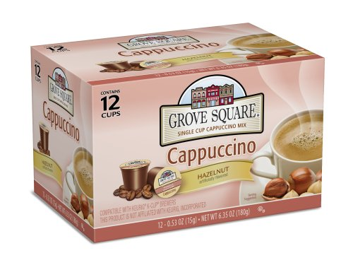 Grove Square Cappuccino, Hazelnut, 12 Single Serve Cups (Pack of 3) from Grove Square Cappuccino