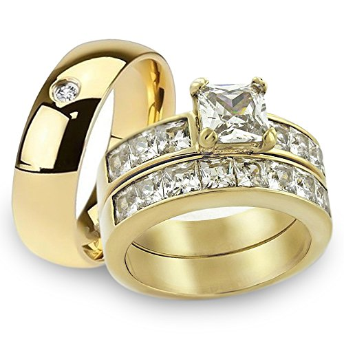 His & Her 14K G.P. Stainless Steel 3pc Wedding Engagement Ring & Men's Band Set Women's Size 08 Men's Size 12