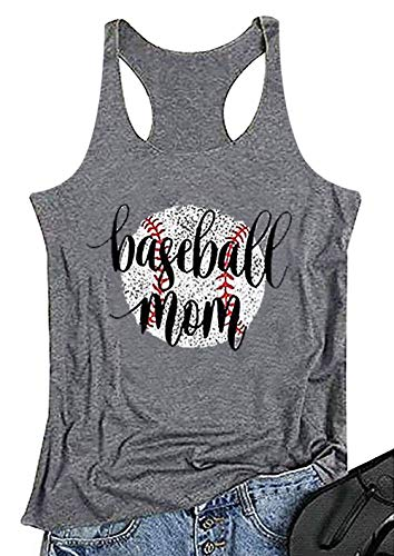 MNLYBABY Baseball Mom Tank Tops for Women Funny Letters Print Sports Workout Racerback Size M (Grey)