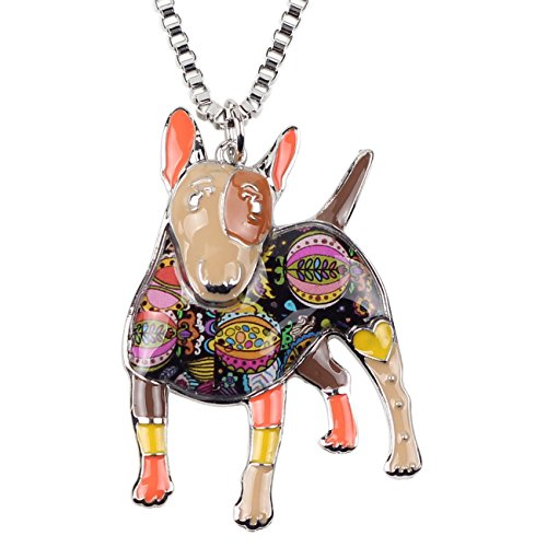 """BONSNY Collection """"BOWSER"""" Love Heart Enamel Alloy Pets English Bull Terrier Dog Necklace Animal Women pendant 18"""" … (Brown)"""