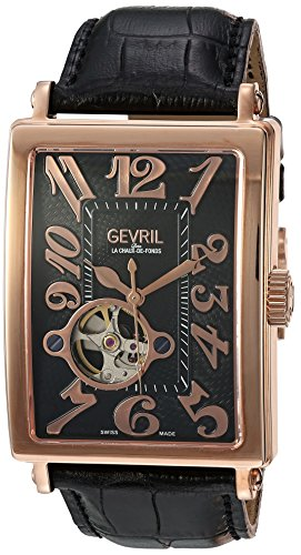Swiss Black Face (Gevril Avenue of Americas Men's Swiss-Automatic Open Heart Rectangle Face Black Leather Strap Watch, (Model: 5171))