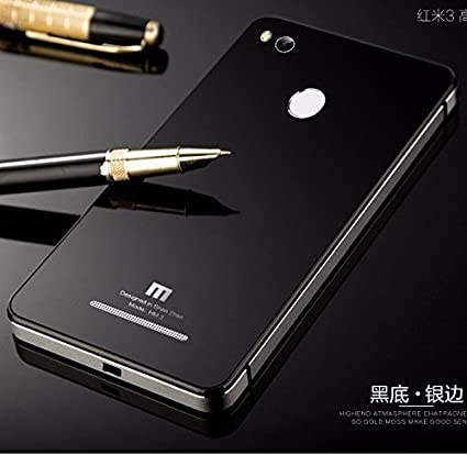 premium selection cd1a7 3a974 AUDOS Tempered Glass Back Aluminium Bumper Cover Case For Xioami Redmi 3s  Prime,(Black with Silver Frame)