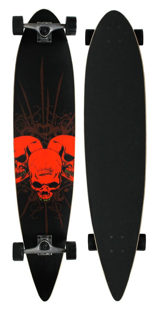 CompleteスケートボードPintail Longboard 3 Amigos 9 in X 43 In 赤 Skulls