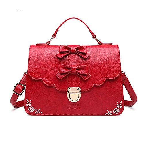 Fangyou1314 Selvaggio Casuale Tracolla A Rosso Rosso Pu Impermeabile Ricamo Borsa colore qfrPZOq