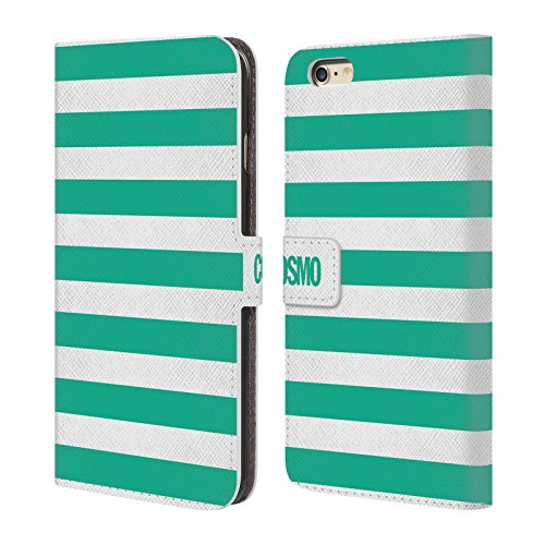 Official Cosmopolitan Teal Stripes Collection Leather Book Wallet Case Cover For Apple iPhone 6 Plus / 6s Plus