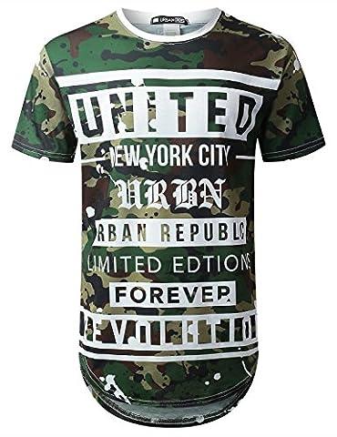 URBANTOPS Mens Hipster Hip Hop United Camo Graphic Longline T-shirt WHITE, XL - Long Graphic