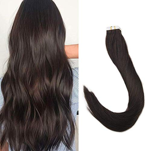 Full Shine Hair Extensions Tapes In 20 Inch Remy Human Hair Skin Weft Seamless Human Hair Extensions 20 pcs 50gram Thick End Straight Hair Tape In Hair Extensions