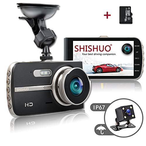 SHISHUO Dash Cam Front and Rear – Upgraded 4 Inch Big Screen 1080P HD IPS Display Driving Recorder Cameras with 16GB Micro SD Card, G-Sensor, Motion Detect, LED Compensation, Parking Monitoring