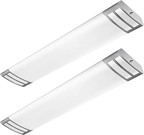 Antlux 4ft Led Flush Mount Linear Lights 40w 4500lm Kitchen Light Fixtures 4000k 4 Foot Led Kitchen Ceiling Light Fixtures For Living Room Laundry Replace For Fluorescent Version 2 Pack Amazon Com