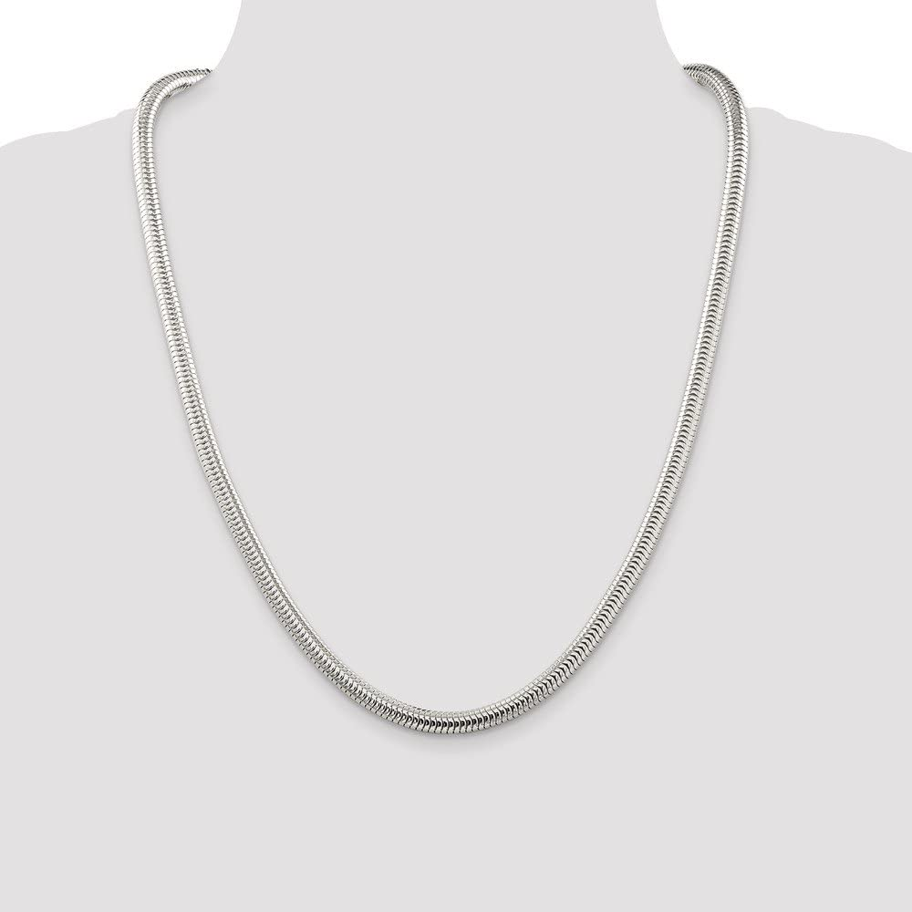 925 Sterling Silver 6mm Round Snake Chain 18 Inch