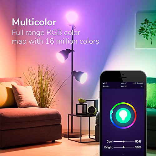 GMYLE Smart WiFi LED Bulb, Multi-Color, Dimmable, Soft White to Daylight (2700-6500K) 9W A19 Light (60W Equivalent), Compatible with Amazon Alex, Google Home, No Hub Need (1 Pack)