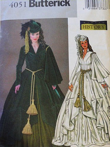 Butterick 4051 Historical Costume Pattern, Gone With the Wind, Scarlett O'Hare Dress Hat Bag Size 6 to 10 -