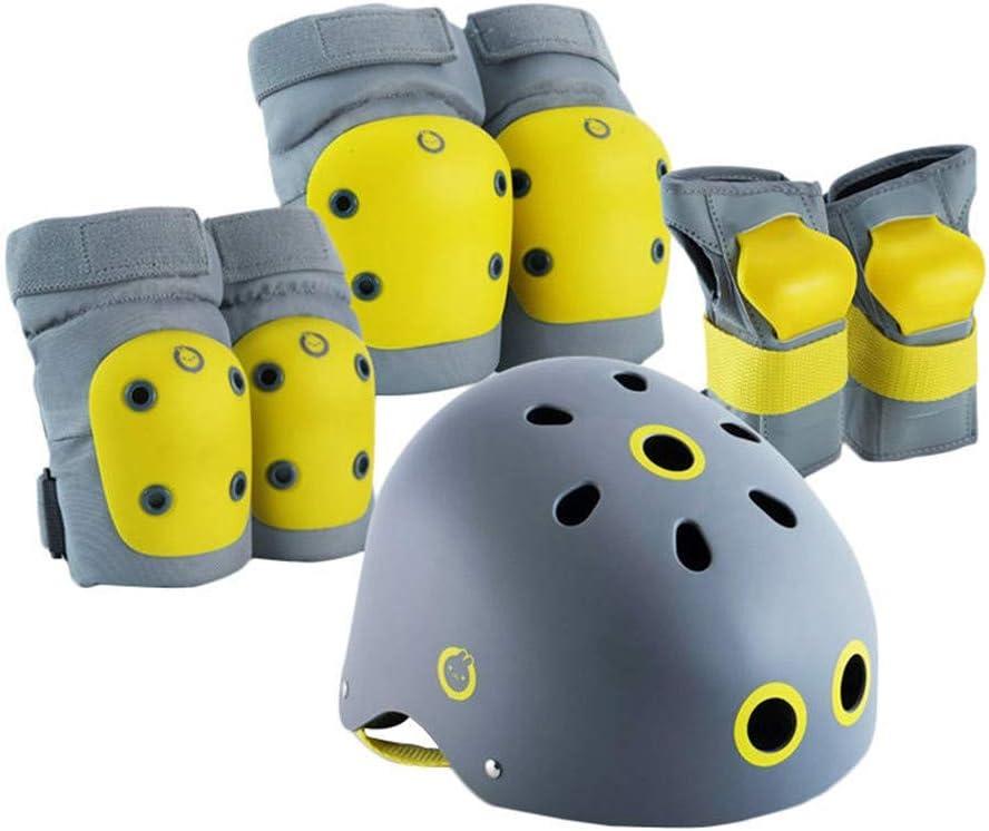 サイクリング膝ブレース スポーツニーパッド肘膝手首安全ギアアジャスタブルキッズサイクリング自転車 自転車 (Color : Yellow, Size : S)