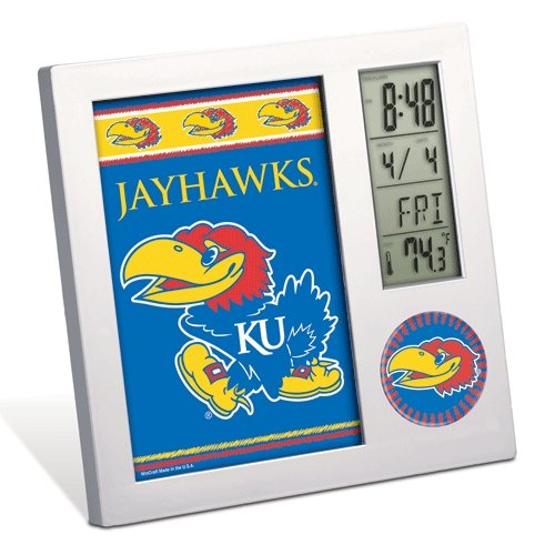 WinCraft NCAA University of Kansas Desk Clock, Black