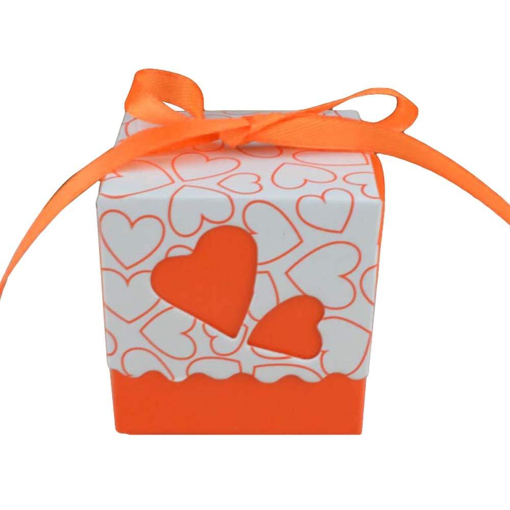 eroute66 12Pcs Candy Box Gift Bag Love Heart Holiday Wedding Party Beach Table Decor Wedding Party Favor Box Orange