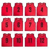 TopTie Numbered Scrimmage Team Practice Mesh Jerseys Vests Pinnies (12-Pack)