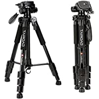 Tairoad T1-111 Travel Camera Tripod Lightweight with Carry Case - 3 Way Fluid Panhead - Quick adjustment Flip Locks - Compatible with Compact and Mirrorless Nikon Canon Sony Cameras - Black
