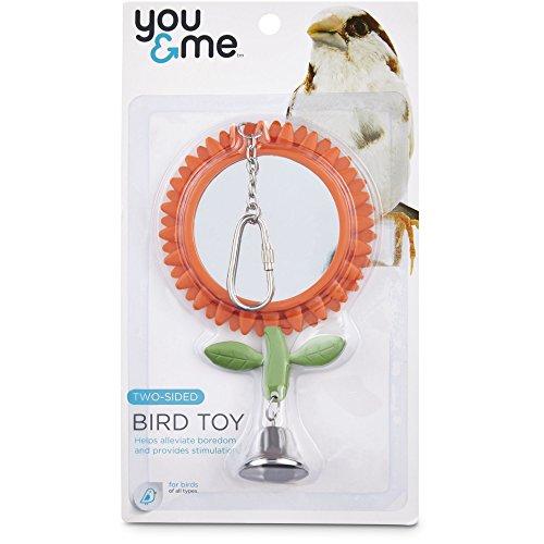 You&Me Two-Sided Flower Mirror Bird Toy, Medium Birdcage Mirror