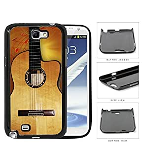 Acoustic Guitar With Music Notes Hard Plastic Snap On Cell Phone Case Samsung Galaxy Note 2 II N7100