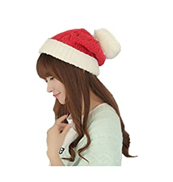 916efd4515b AccessoryStation® Fashion Korean Winter Women Lady Warm Knitting Cotton Hat  Ski Knitted Beanies Wool Hat Cap with Pure Color and Christmas Style-Pink  with ...