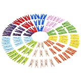 eBoot 100 Pieces 1 Inch Mini Colored Wooden Photo Paper Peg Pin Clothespin Craft Clips