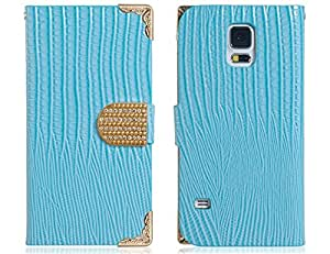 Lizard Print Faux Leather & Alloy Flip Case for Samsung Galaxy S5 I9600 Blue/Black/White/Red New 1PCS --- Color:Black