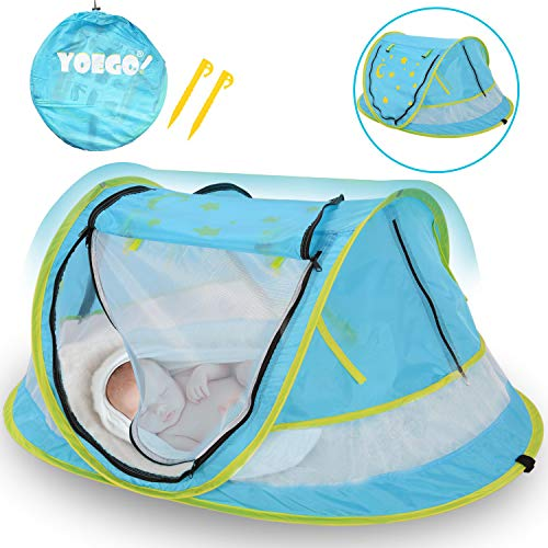 Yoego Baby Beach Tent,【New Version】 Baby Pop-Up Travel Tent with Mosquito Net, Portable UPF 50+ Sun Shelters Shade, Baby Travel Crib,-(No Pad) from Yoego