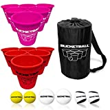 BucketBall - Team Color Edition - Combo Pack (Pink/Red): Original Yard Pong Game: Best Camping, Beach, Lawn, Outdoor, Family, Adult, Tailgate Game