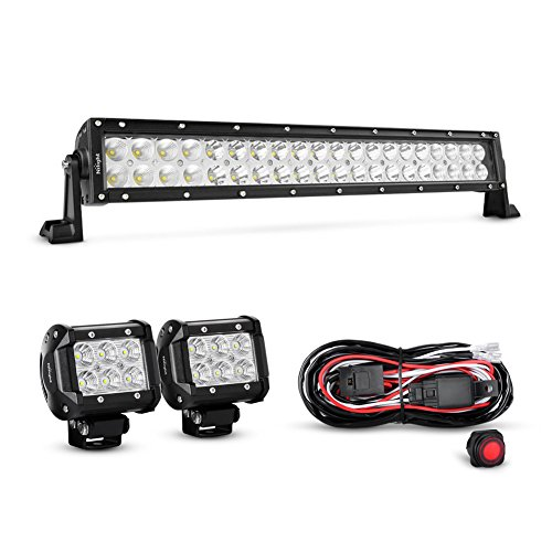 Nilight-4333221370-22Inch-120W-Spot-Flood-Combo-Led-Light-Bar-2PCS-4Inch-18W-Flood-LED-Pods-Fog-Lights-with-16AWG-Wiring-Harness-Kit-2-Leads2-Years-Warranty
