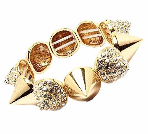 y Spike Bracelet Hip Hop Stretch Rhinestone Costume Jewelry (Gold) ()