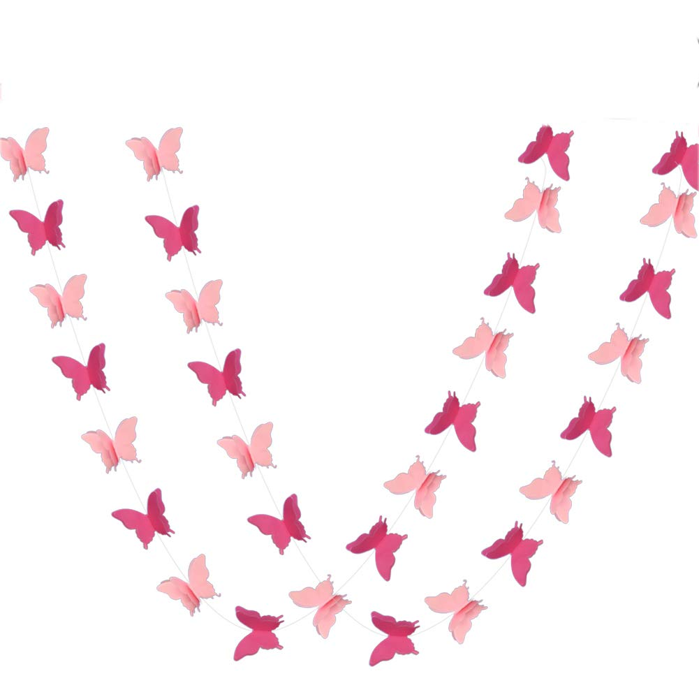 ADLKGG Butterfly Hanging Garland Party Decoration 4 Pack, 3D paper Butterfly Bunting Banner for Wedding Baby Shower Birthday Home Decor, Pink