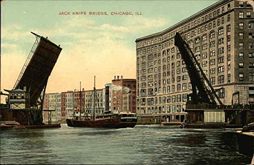 Jack Knife Bridge Chicago, Illinois Original Vintage Postcard